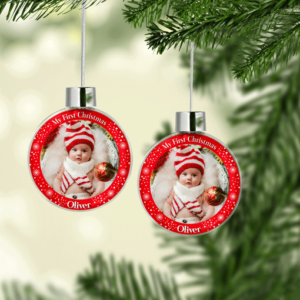 My First Christmas Photo Baubles