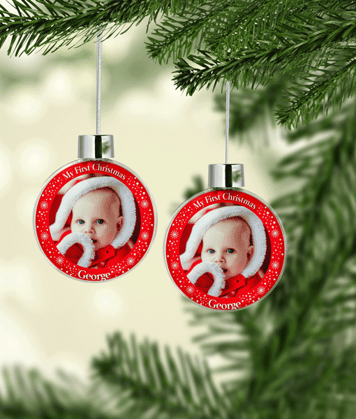 Baby Shower Gifts My First Christmas Photo Baubles