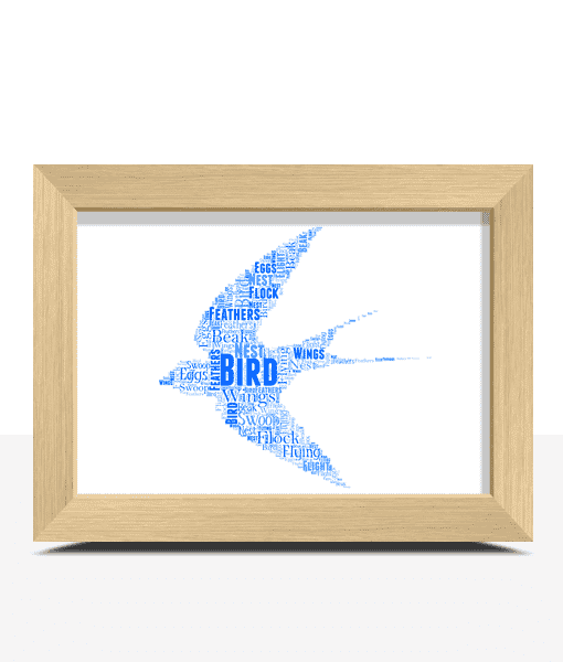 Personalised Flying Bird Word Art Print