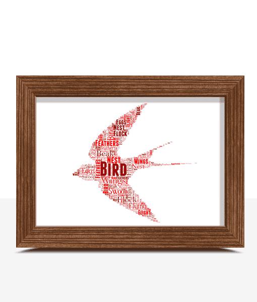 Animal Prints Personalised Flying Bird Word Art Print