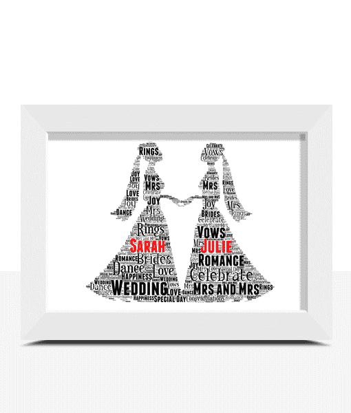 Gay Female Wedding Couple Gift Word Art