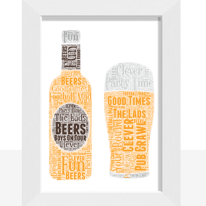 Fathers Day Gifts Personalised Beer Bottle – Pint Glass Word Art