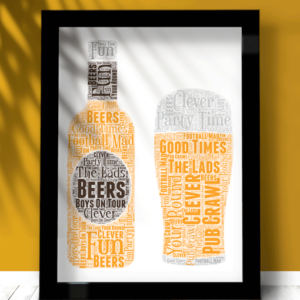 Personalised Pint Beer Glass Word Art