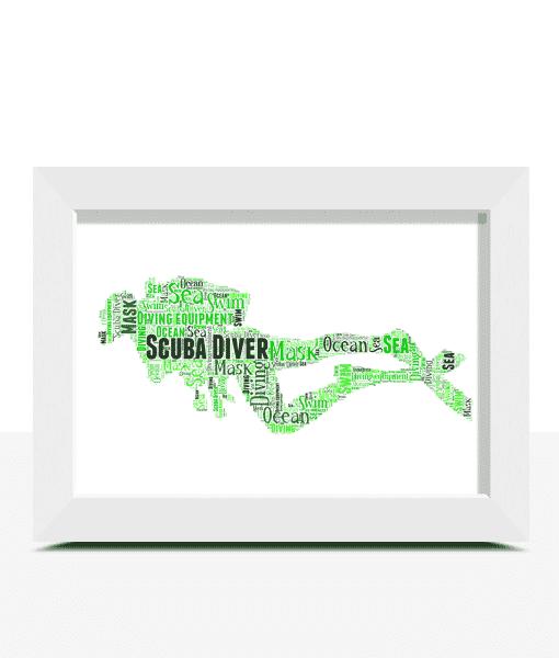 Personalised Scuba Diver Word Art Print