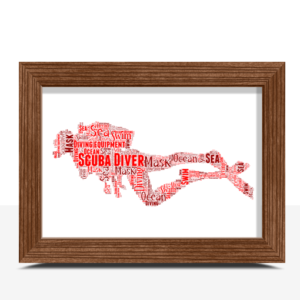 Personalised Scuba Diver Word Art Print