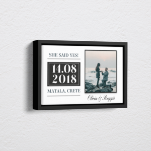 "Engagement Gifts ""She Said Yes!"" Personalised Engagement Gift – On Canvas"