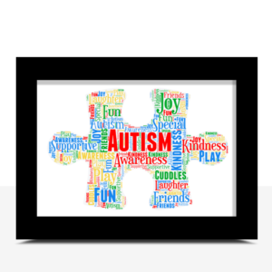 Personalised Autism Jigsaw Piece Word Art