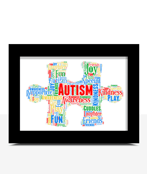 Teacher Gifts Personalised Autism Jigsaw Piece Word Art