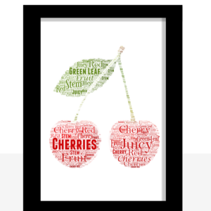 Personalised Cherries Word Art Print
