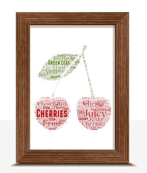 Food And Drink Personalised Cherries Word Art Print