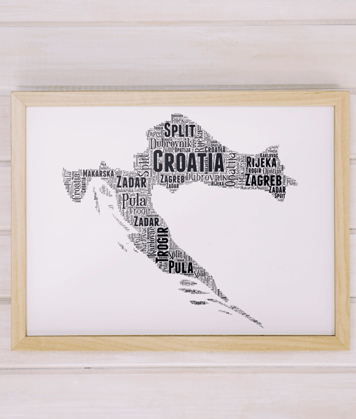 Personalised Croatia Word Art Map Travel