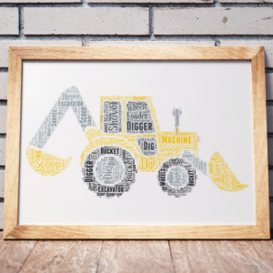 Personalised Digger Print/ Excavator Word Art Print