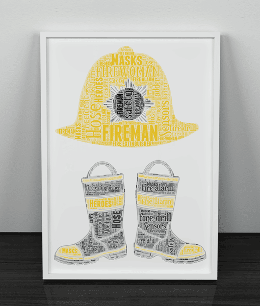 Personalised Fireman Boots Word Art