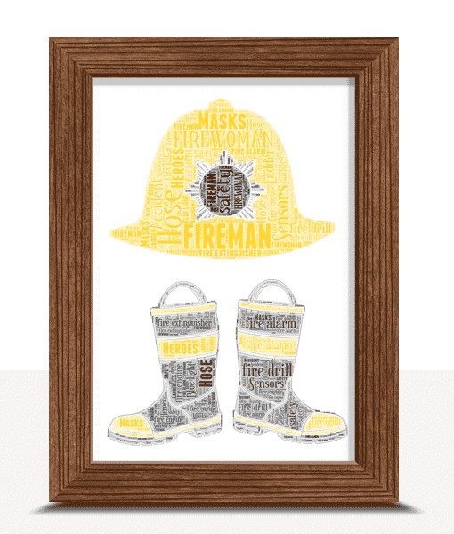 [tag] Personalised Fireman Boots Word Art
