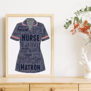 Retirement Gifts Matron Nurse Uniform Word Art Print