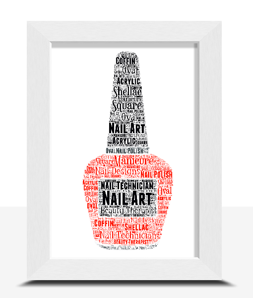 Gifts For Her Personalised Beauty Therapist / Nail Polish Word Art Print