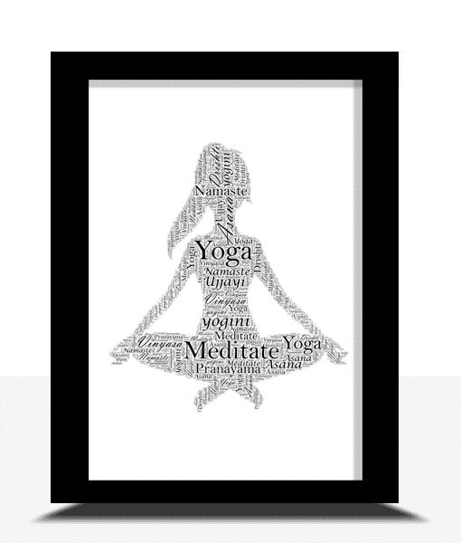 Teacher Gifts Personalised Yoga Word Art Print
