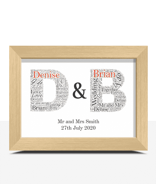 Engagement Gifts Couples Initials Word Art – Personalised Wedding Anniversary Gift