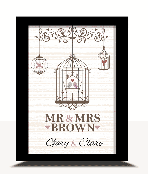 Anniversary Gifts Personalised Love Birds Print