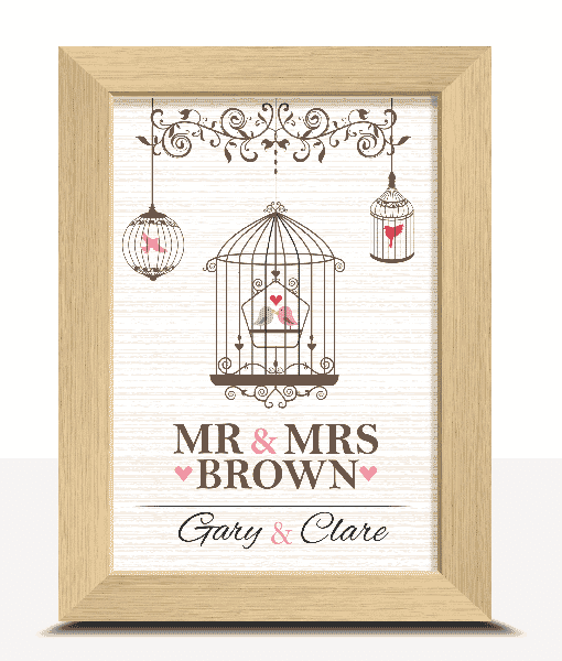 Personalised Love Birds Print Anniversary Gifts