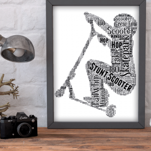 gifts Stunt Scooter Word Art Print
