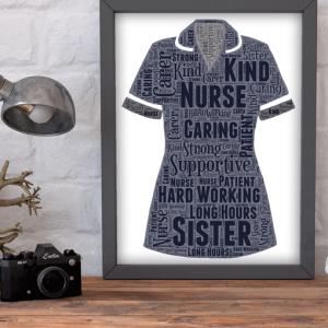 Retirement Gifts Sister Nurse Uniform Word Art Print
