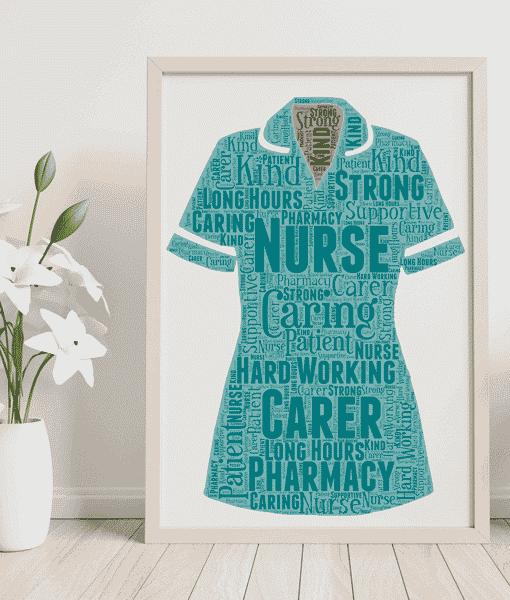 Pharmacy Nurse Uniform Word Art Print