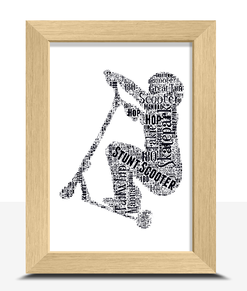 Stunt Scooter Word Art Print