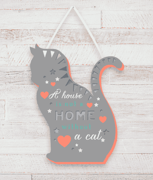 Animal Prints Home Is Not Home Without A Cat – Plaque