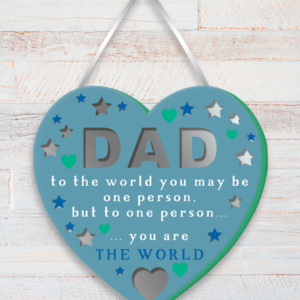 Fathers Day Gifts Dad You Are The World – Heart Plaque