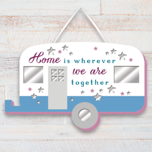 Family Home Wooden Plaque in a Caravan Shape