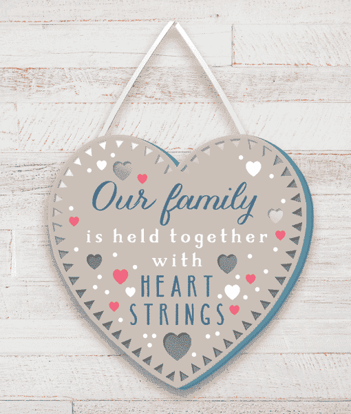 Family Our Family is held together with heart strings – Wooden Plaque