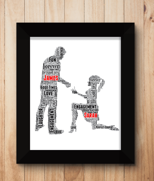 Engagement Gifts Woman Proposal Personalised Word Art Engagement Gift