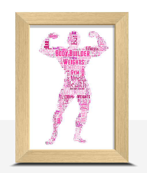 Sport Personalised Body Builder Word Art Print