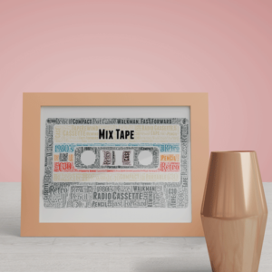 Mix Tape Cassette Word Art Print