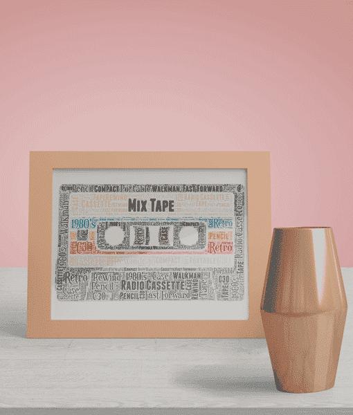 Music Mix Tape Cassette Word Art Print
