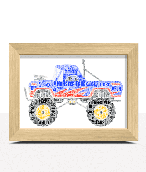 Gifts For Children Monster Truck Word Art Print