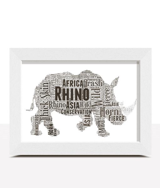 Animal Prints Personalised Rhino Word Art Print