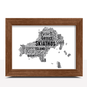 Personalised Skiathos Word Art Map