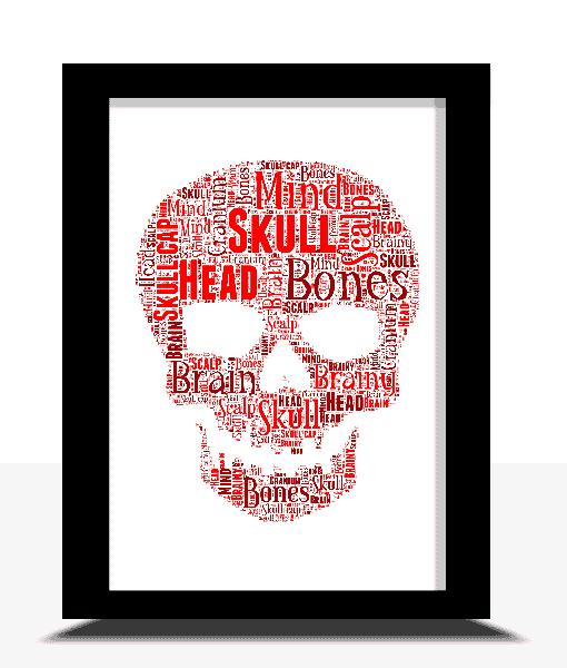 [tag] Personalised Skull Word Art Print