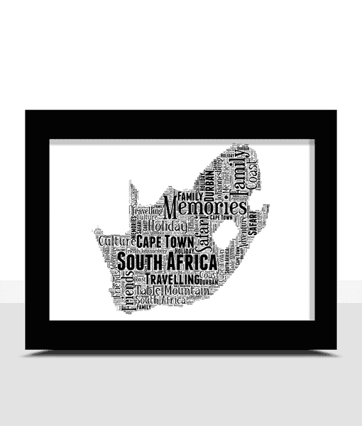 Travel Personalised South Africa Word Art Map