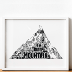 Sport Personalised Mountain Word Art Print