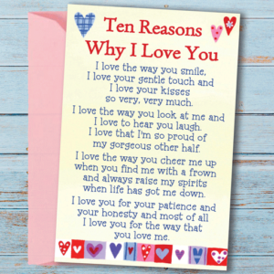 Ten Reasons Why I Love You – Sentimental Wallet Card Gifts For Couples