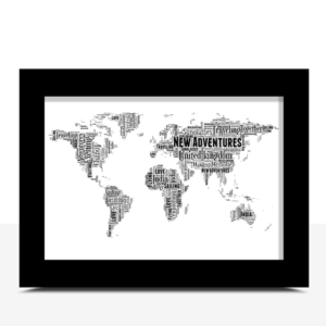 Personalised World Map Word Art Print