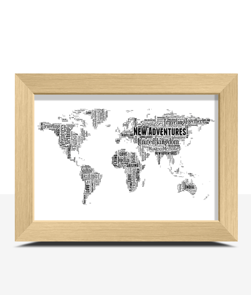 Travel Personalised World Map Word Art Print