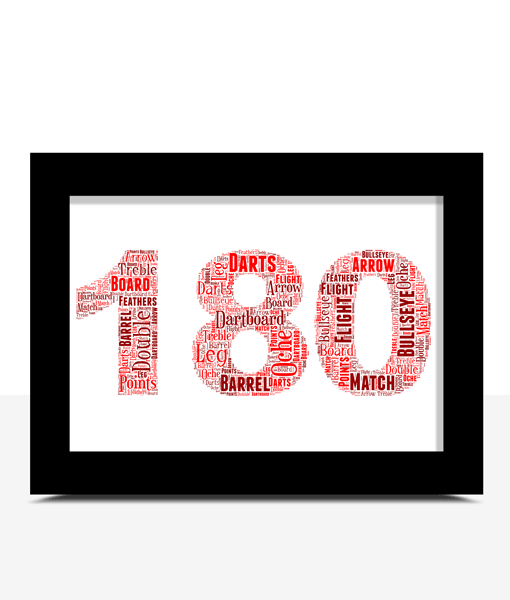 Sport 180 Darts Word Art Print