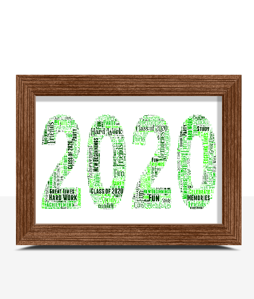 Number Word Art Prints Personalised 2020 Word Art Print