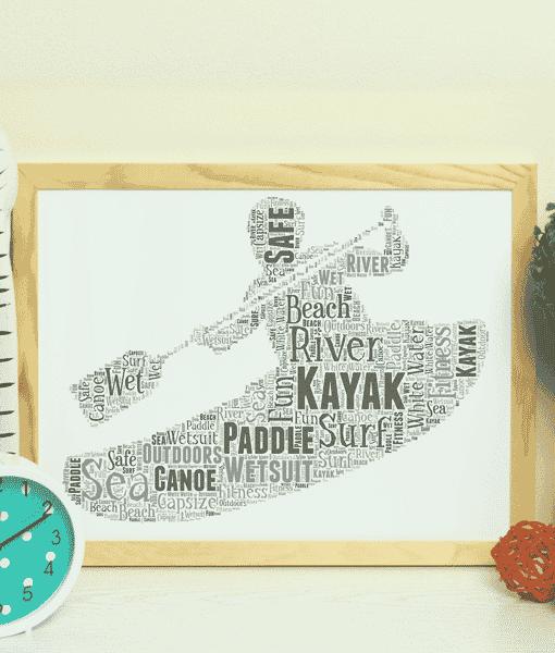 Sport Personalised Kayak Word Art – Kayaking Gift