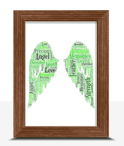 Memorial Angel Wings Word Art Print