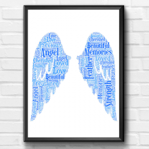Memorial Angel Wings Word Art Print